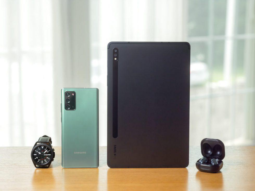 Samsung-Galaxy-Tab-S7-plus-with-galaxy-Buds-Live-galaxy-note-20-ultra-and-galaxy-watch-3-901x675